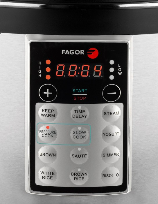 Fagor LUX 8 quart Electric Pressure cooker menu