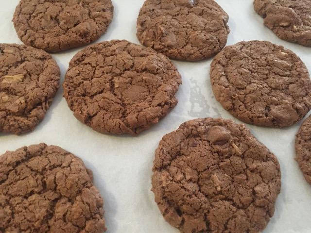 Double Chocolate Coconut Walnut Cookies