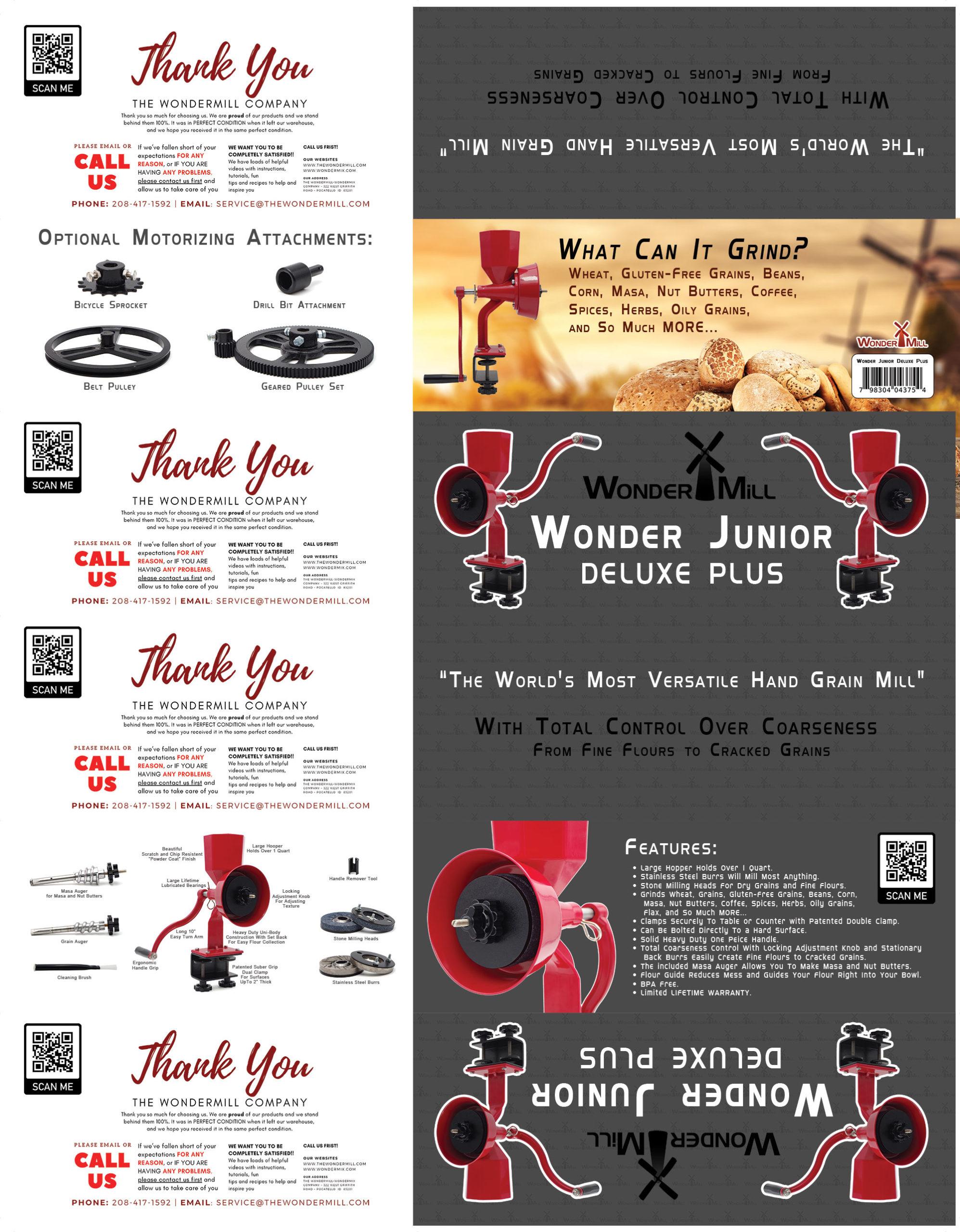Wonder Junior Deluxe PLUS Hand Grain Mill (red)